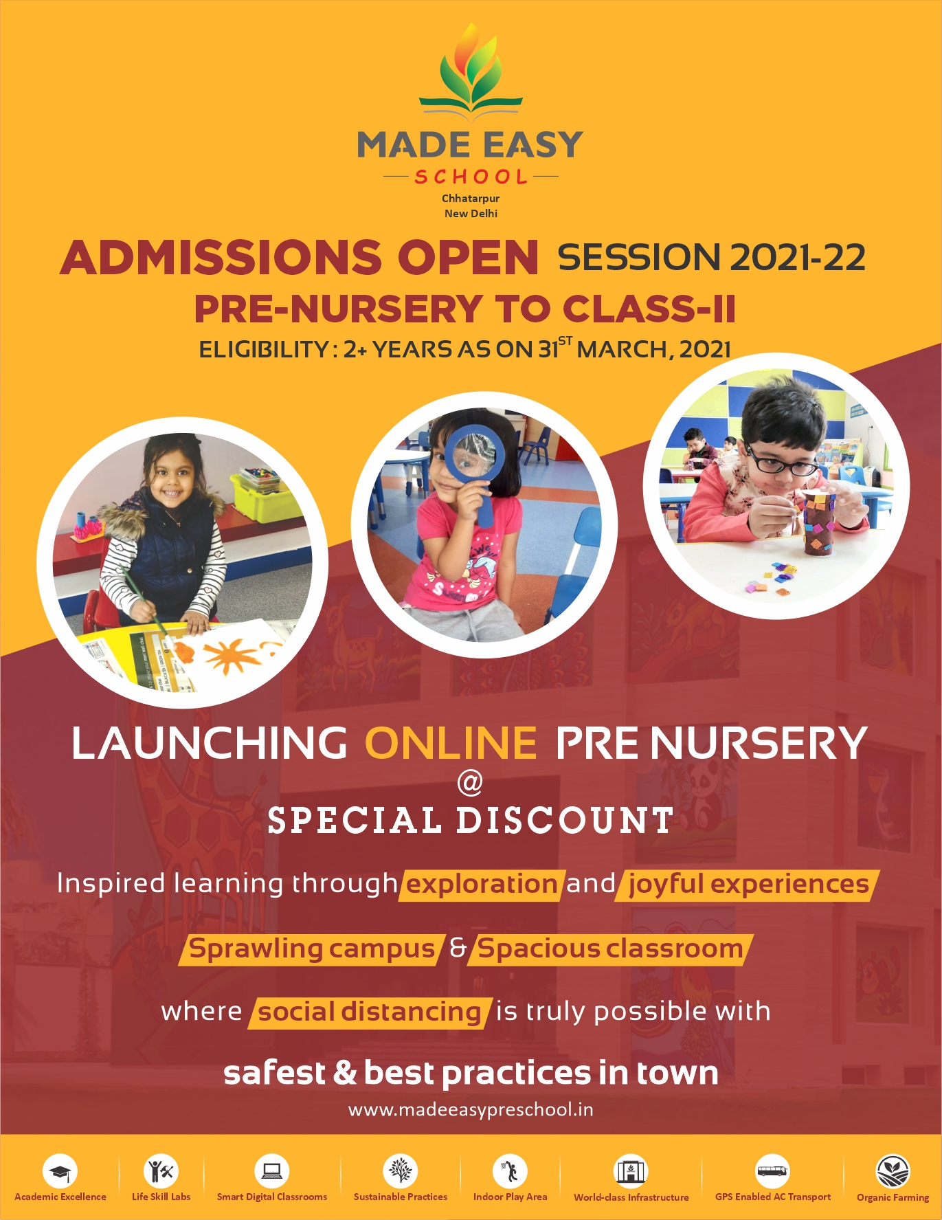 Admissions Open Session-2021-22 for Pre-Nursery to Class-II